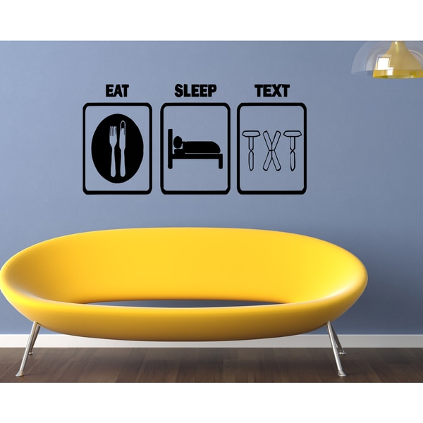 Eat Sleep Text Wall Art Sticker Decal