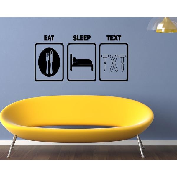 Eat Sleep Text Wall Art Sticker Decal