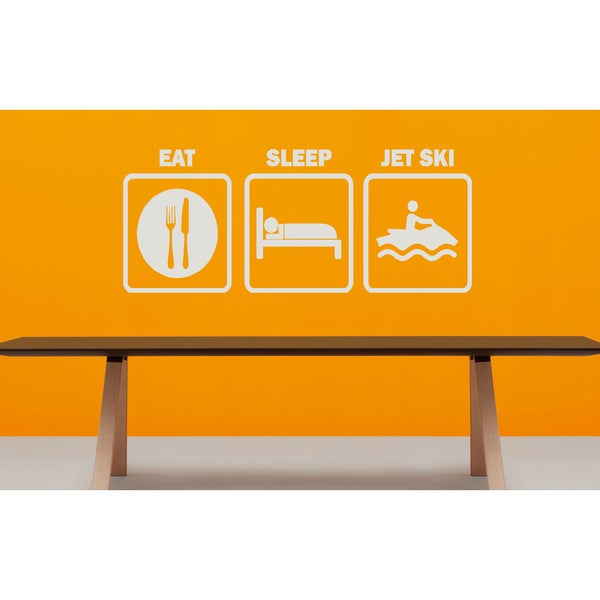 Eat Sleep Jet Ski Wall Art Sticker Decal White