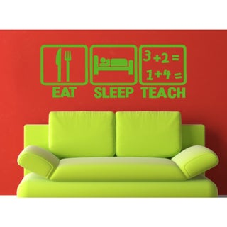 Eat Sleep Teach Wall Art Sticker Decal Green