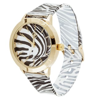 Fortune NYC Ladies Goldtone Case with Tiger Print Dial/ Black & White Rubber Strap Watch