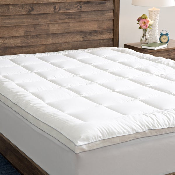 Grandeur Collection PowerNap Cotton Top Fiber Blend Mattress Pad Twin XL (As Is Item)