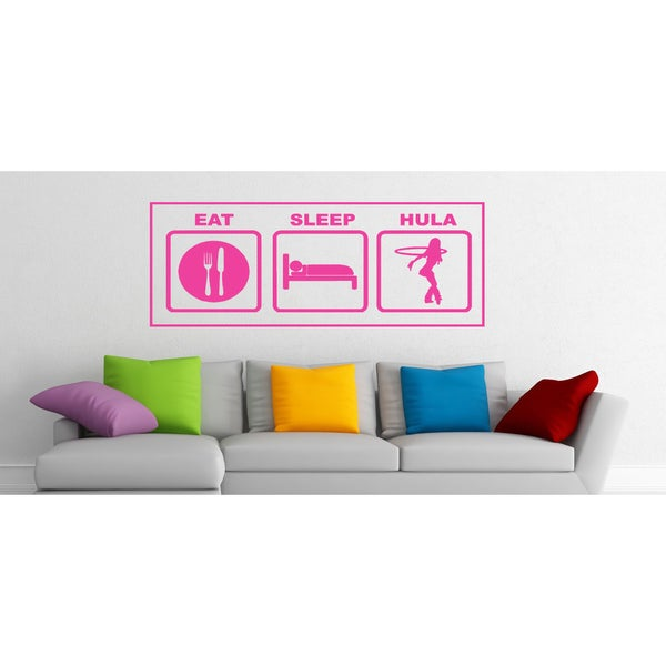 Eat Sleep Hula Wall Art Sticker Decal Pink
