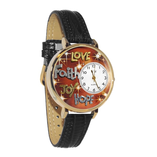 Faith Love Hope Joy Watch in Gold