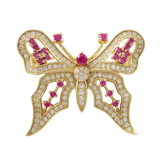 Gold Finish Sterling Silver Lab-created Ruby Butterfly Pin Brooch