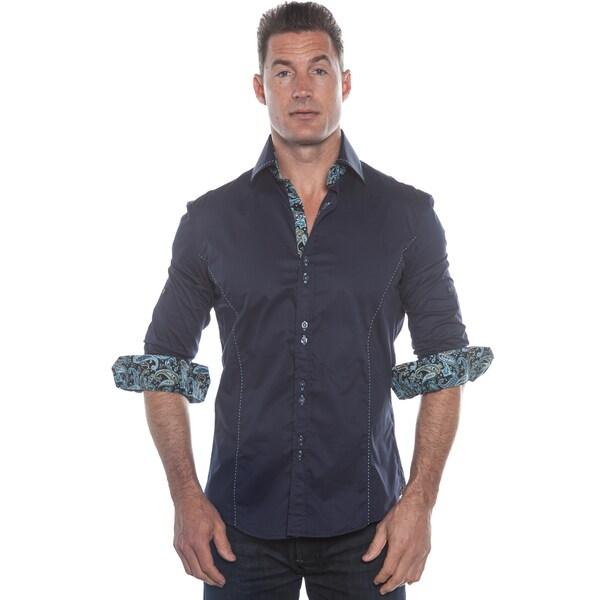 Isaac B. Dark Blue Long Sleeve Button Down Shirt