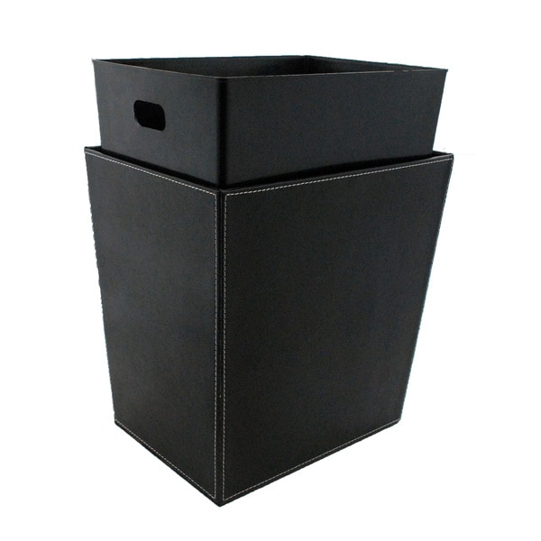 Black and White Stitching Recycling Waste Basket