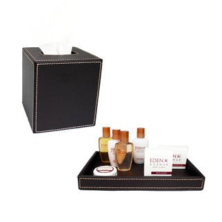 Brown Stitched with Tan Stitching Tissue Holder/ Amenity Tray (Set of 2)