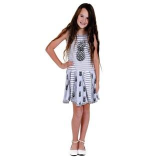 Jelly the Pug Girls' Grey Hankerchief Knit Sleeveless Round Neck Dress