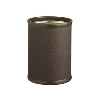 Cosmopolitan 14-inch Oval Waste Basket Dark Brown Textured Body, Dark Brown Bumper