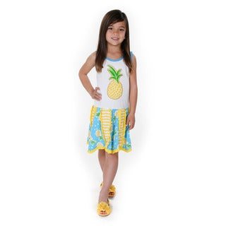 Jelly the Pug Girls' Yellow Hankerchief Knit Sleeveless Round Neck Dress