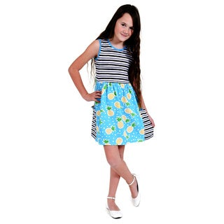 Jelly the Pug Girls' Big Pocket Knit Short Sleeve Round Neck Dress