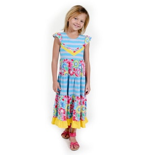 Jelly the Pug Girls' Block Floral Maxi Knit Cap Sleeve Round Neck Dress