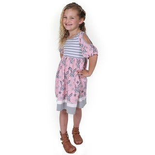 Jelly the Pug Girls' Sydney Pink Knit Short Sleeve Round Neck Dress