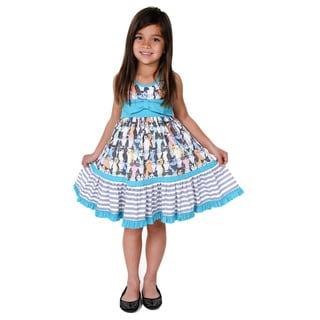 Jelly the Pug Girls' Gracie Cateyes Knit Sleeveless Round Neck Dress