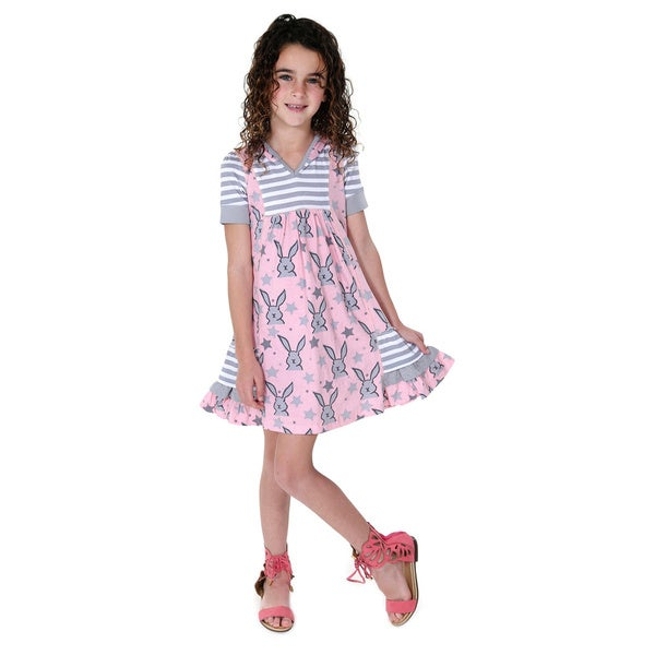 Jelly the Pug Girls' Hooded Knit Short Sleeve V-Neck Dress
