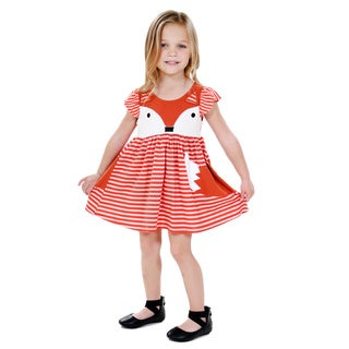 Jelly the Pug Girls' Cap Sleeve Foxtrot Cap Sleeve Round Neck Dress