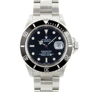 Pre-Owned Rolex Men's Submariner Mid 2000's Model 16610 Stainless Steel Black Dial Watch - No holes