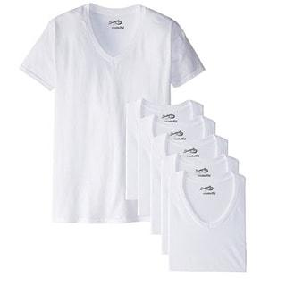 Men's White V-Neck T-Shirt (Pack of 6)