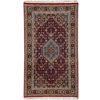 Herat Oriental Indo Hand-knotted Bidjar Light Red/ Navy Wool Rug (2'6 x 4'8)
