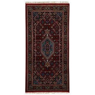 Herat Oriental Indo Hand-knotted Bidjar Red/ Navy Wool Rug (2'6 x 4'8)