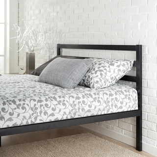 Priage Black Steel Platform Full Size Bed Frame with Headboard