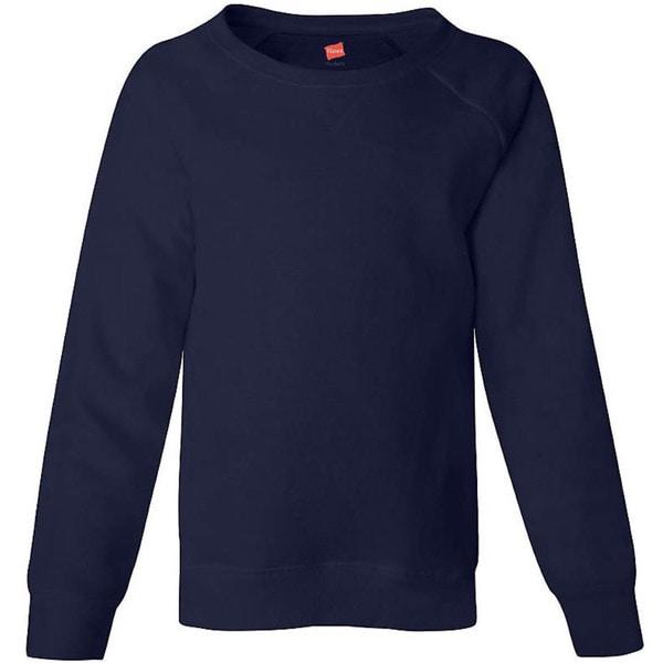 Hanes Girls' Raglan V-Notch Crewneck Sweatshirt
