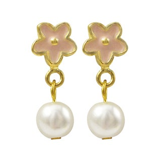 Gold Finish Enamel Flower Faux Pearl Girls Dangle Earrings