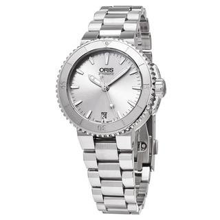 Oris Women's 01 733 7652 4141-07 8 18 01P 'Aquis Date' Silver Dial Stainless Steel Swiss Automatic Watch