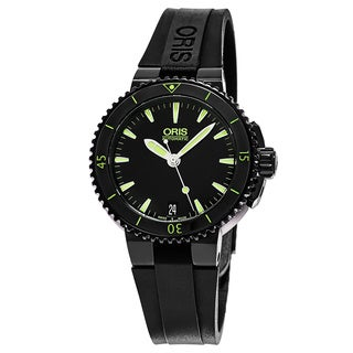 Oris Women's 01 733 7652 4722-07 4 18 34B 'Aquis Date' Black Dial Black Rubber Strap Swiss Automatic Watch