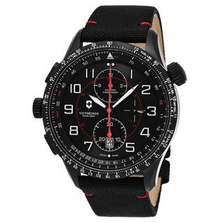 Swiss Army Men's V241716 'Airboss Mach 9 Black Edition' Black Dial Black Fabric Strap Chronograph Swiss Mechanical Watch