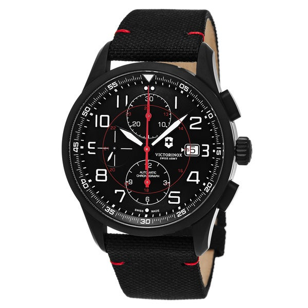 Swiss Army Men's V241721 'Air Boss' Blacl Dial Black Fabric Strap Chronograph Swiss Automatic Watch 18107179