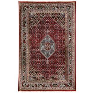 Herat Oriental Indo Hand-knotted Bidjar Light Red/ Navy Wool Rug (5'10 x 8'2)