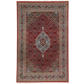 Herat Oriental Indo Hand-knotted Bidjar Light Red/ Navy Wool Rug (6'9 x 10')