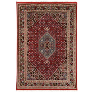 Herat Oriental Indo Hand-knotted Bidjar Light Red/ Navy Wool Rug (5'6 x 8')