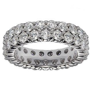 Platinum 3 1/10 - 3.65ct 2-row Diamond Eternity Wedding Band (G-H, SI1-SI2)