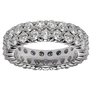 14k/ 18k White Gold 3 1/10 - 3.65ct 2-row Diamond Eternity Wedding Band (G-H, SI1-SI2)