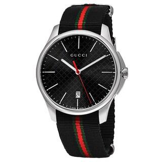 Gucci Men's YA126321 'Timeless' Black Dial Black Nylon Strap Swiss Quartz Watch