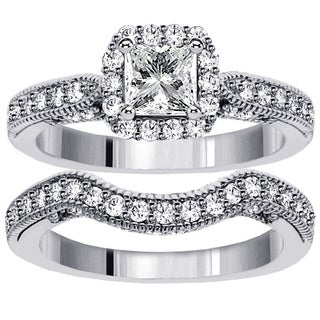 14k White Gold 1 3/5ct TDW Princess Diamond Halo Bridal Ring Set (G-H, SI1-SI2)