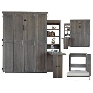 Queen Murphy Bed with One Door Bookcase with Flip-Down Desk in Grey Finish