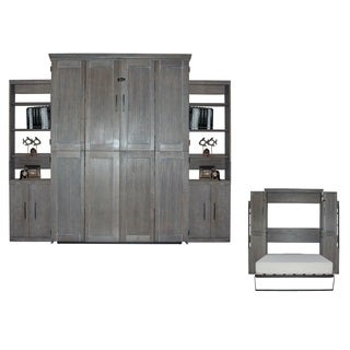 Queen Murphy Bed with Two Door Bookcase in Grey Finish