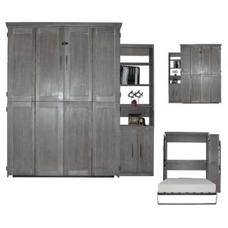 Queen Murphy Bed with One Door Bookcase in Dove Wash Finish