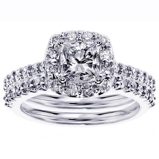 Platinum 2 1/10ct TDW Diamond Bridal Ring Set (G-H, SI1-SI2)