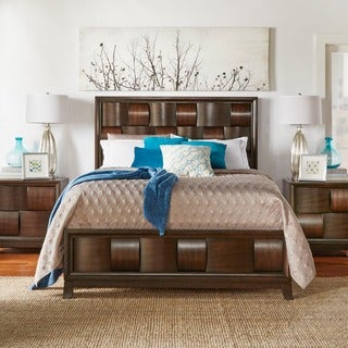 Porter Weave Brown Cherry Bed with Low-profile Footboard
