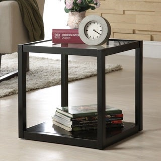 Stackable Multifunction Black Wood and Glass Display Shelf/End Table, 1 Cubic Feet