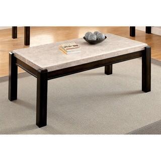 Furniture of America Leslie Genuine Marble Top Coffee Table