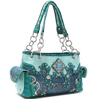Dasein Floral Embroidered Western Turquoise Studded Shoulder Bag
