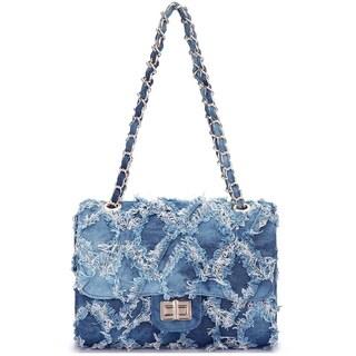 Dasein Distressed Denim Crossbody Handbag