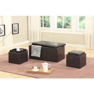 Trina Brown Triple Storage Ottomans with Wooden Trays (Set of 3)