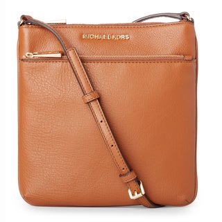 Michael Kors Riley Luggage/Gold Small Flat Crossbody Handbag